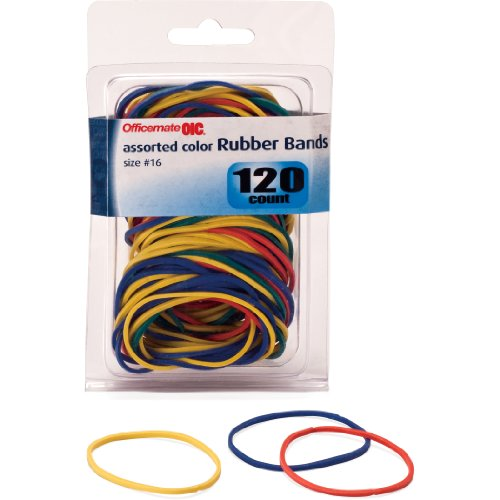 Officemate OIC Size 16 Rubber Bands, Assorted Colors, 120 per Pack (82020) ()