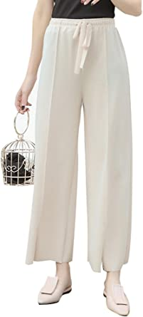 Popoye Pantalones Algodón para Mujer Pantalones Sueltos con Alta Cintura Albaricoque: Amazon.es: Ropa y accesorios