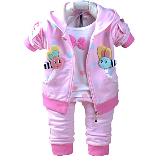 Baby Girls 3 Piece Sets T Shirt Vest and Pants(Pink,18-24M)