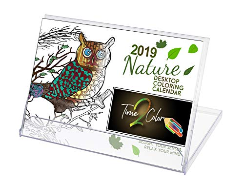 "Time2Color 2019 Standing Lucite Desktop Coloring Calendar: January to December (6"" X 8.5"") (Nature Theme) -"