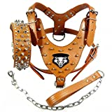 Benala Punk Wolf Spiked Studded Leather Dog Pet Harness Collar and Leash Set for Large Dogs Pitbull Boxer Bully (Brown,L)