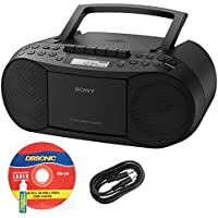 Sony CFDS70BLK CD/Cassette Boombox Home Audio Radio, Black + DB Sonic Auxiliary Cable & Laser Lens Head Cleaner