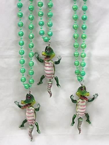 A Pack of 3 Gator Alligator Mardi Gras Bead Necklaces Cajun Carnival New Orleans