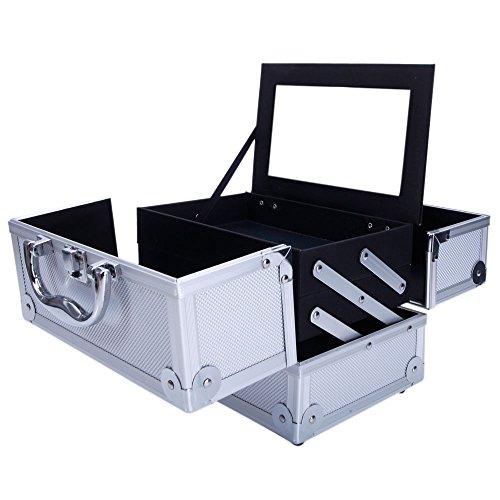 Lovinland Aluminum Makeup Train Case with Mirror 9.06 x 5.91 x 5.91 inch L x W x H Cosmetic Case Makeup Jewelry Storage Box Organizer