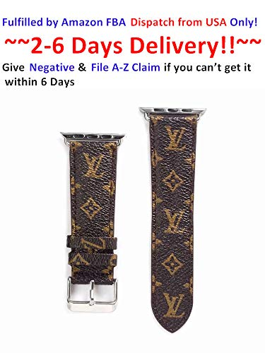 42/44MM Compatible Apple Watch Straps, Luxury Fashion PU Leather Classic Wrist Bands for Women and Men, Replacement for Apple Watch Series 4 3 2 1 42mm (fit for 44mm) (Small - Watch Series Gucci