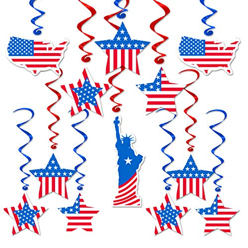 Election Decorations First Day of School Party Favor America Flag Hanging Swirl Ceiling Accessory, Red Blue Foil Perfect for Labor Day, Veterans Day, Memorial Day, Year Decorations - Pack of 30 -