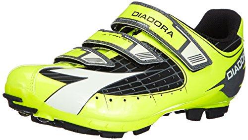 Diadora X TRIVEX - Calzado de ciclismo unisex, Amarillo (Negro/Amarillo fluo/Blanco 3444), EU 42