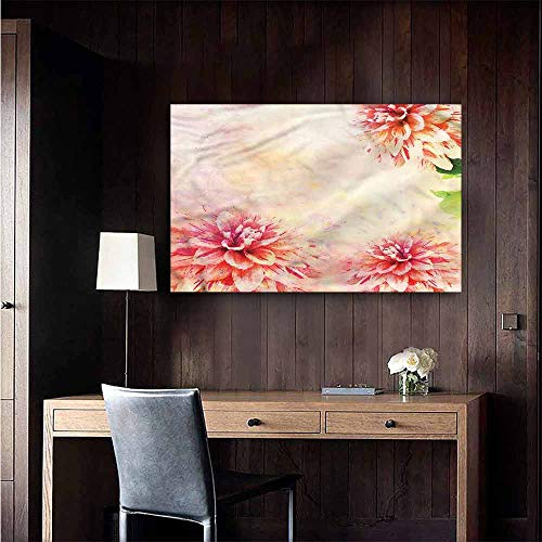 Camerofn Wall Mural Wallpaper Stickers Dahlia Flower Vintage Botanical for Kids Rooms Boy Room Size : W20 x H16