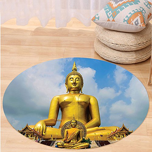VROSELV Custom carpetYoga Decor The Biggest Golden Indian Statue at the Temple in Thai Oriental Sage Asian Style Home Decor Bedroom Living Room Dorm Decor Multi Round 72 inches by VROSELV