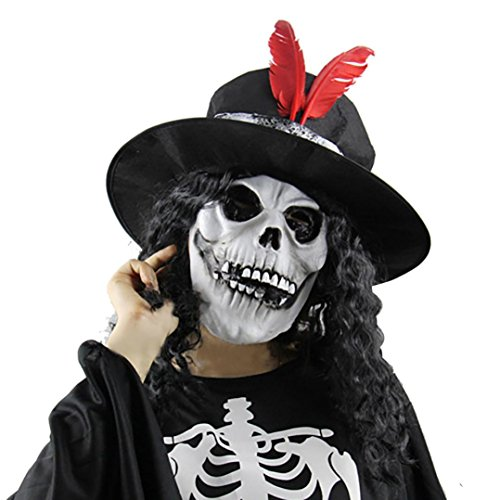 [Halloween Mask, MALLOOM Halloween Party Cosplay Terror Witch Mask with Hair] (Adult Witch Mask With Hat And Hair)