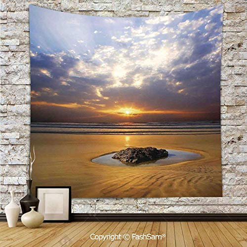 FashSam Tapestry Wall Hanging Reflection of The Sunset on The Coast Sunbeams Cloudy Sky Tourist Attraction Image Tapestries Dorm Living Room Bedroom(W59xL78)