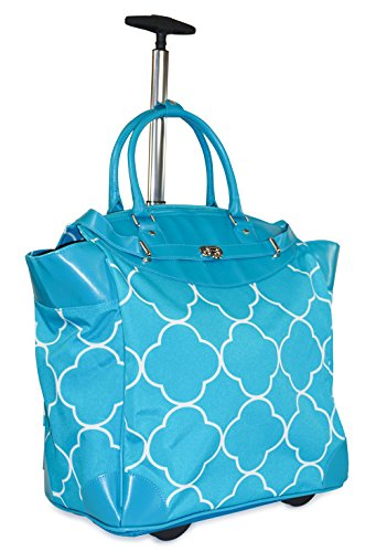 Ever Moda Moroccan Travel Bag with Wheels Luggage Carry On for Laptop (Teal Blue) by Ever Moda