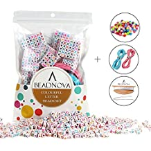 """BEADNOVA 800pcs White Acrylic Alphabet Letter Beads With Colorful Letters Alphabet """"A-Z"""" Cube Beads For Kids Jewelry Making with Jewelry Cords and 120pcs AB Colorful Beads Included (6mm)"""