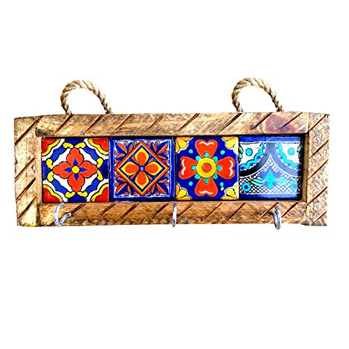 Casa Fiesta Designs Mexican Key Holder with Metal Hooks and Colorful Talavera Tiles - Mexican Style - Talavera Wall Art - Mexican Home Decor - Assorted Tiles - Portallaves Multi ()