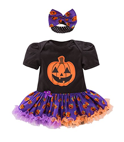 May's Baby Girls Pumpkin First Halloween Costume Tutu Romper Outfit Set With Headband