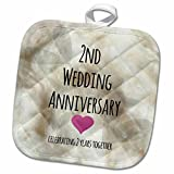 3D Rose 2Nd Wedding Gift-Cotton Celebrating 2 Years Together-Second Anniversaries Two Yrs Pot Holder, 8 x 8''