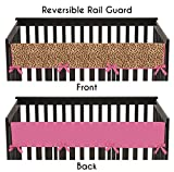 Sweet Jojo Designs Cheetah Girl Pink and Brown Long Front Rail Guard Baby Girl Teething Cover Protector Crib Wrap