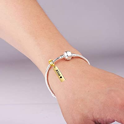 Buy Persoanlized Name Bar Charm Fit For Pandora Bracelet Custom Any Name Initial Letter Number Date Name Plate Bead Id Bar For Bracelet Online In Indonesia B08rz21ry7