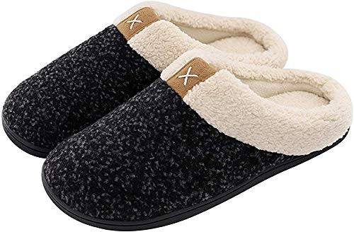 ULTRAIDEAS Men's Cozy Memory Foam Slippers with Fuzzy Plush Wool-Like Lining, Slip on Clog House Shoes with Indoor Outdoor Anti-Skid Rubber Sole