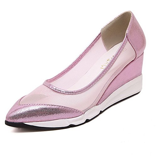 VogueZone009 Women's Soft Material Pull-On Pointed Closed Toe Kitten-Heels Solid Pumps-Shoes Pink jxO0hH