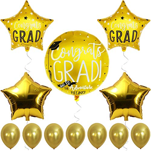 Graduation Themes For High School (Graduation Balloons Gold for Graduation Party Supplies - 2019 Graduation Balloons for Grad Party - Graduation Mylar Balloons - Congratulaion Foil Balloon for College Grad and High School - Gold)