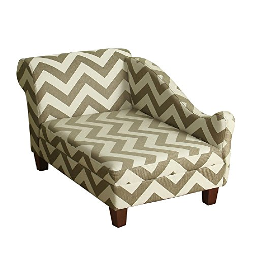 (HomePop Decorative Pet Bed Chaise Lounger, Grey and Cream Chevron)