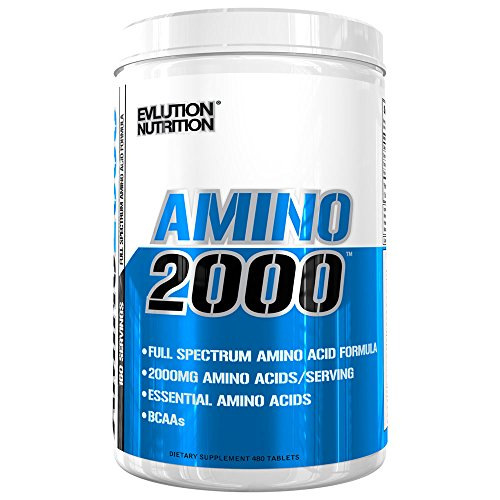 Evlution Nutrition Amino2000 Amino Acid Tablet Supplement, 2 Grams of Premium Amino Acids, 160 Servings