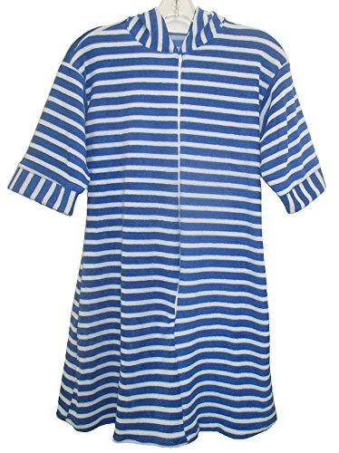 Benefit Wear Childrens Hooded Terry Bath Robe with Zipper (8, Blue)