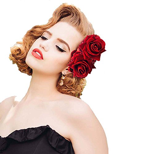 Ever Fairy Rose Flower Hair Clip Slide Flamenco Dancer Pin Flower Brooch Lady Hair Styling Clip Hair Accessories (Deep Red(1pcs))