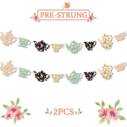 Teapots And Teacups Tea Party Banner Bridal Shower Baby Shower Girls Birthday Ideas Floral Garland Traditional English Afternoon Backyard Garden Flower Decor Totally 9Ft Long-NO DIY