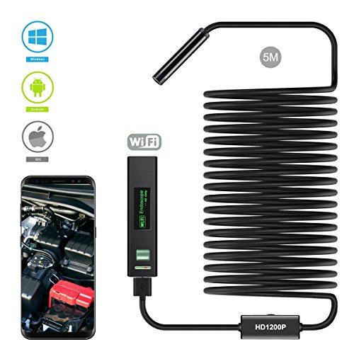 iPhone Black 16.5ft IP68 Waterproof Snake Camera for Android and IOS Smartphone WiFi Borescope Inspection Camera 1200P HD Wireless Endoscope Tablet Samsung