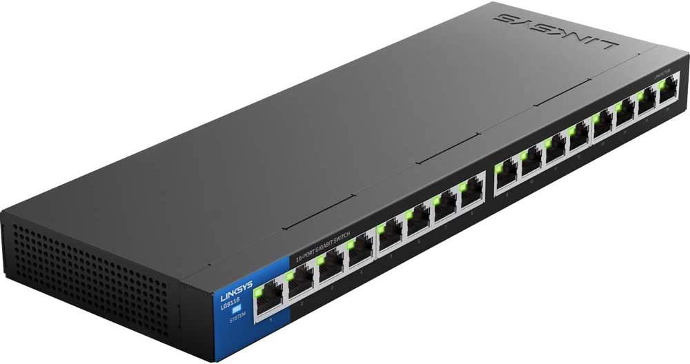 Linksys Business LGS116 16-Port Desktop Gigabit Ethernet Unmanaged Network Switch I Metal Enclosure,Black/Blue