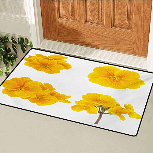 GUUVOR Yellow Flower Welcome Door mat Gardening Themed Collection with Little Tender Primrose Primula Blossoms Door mat is odorless and Durable W31.5 x L47.2 Inch Mustard White (Leaf Primrose Five Light)