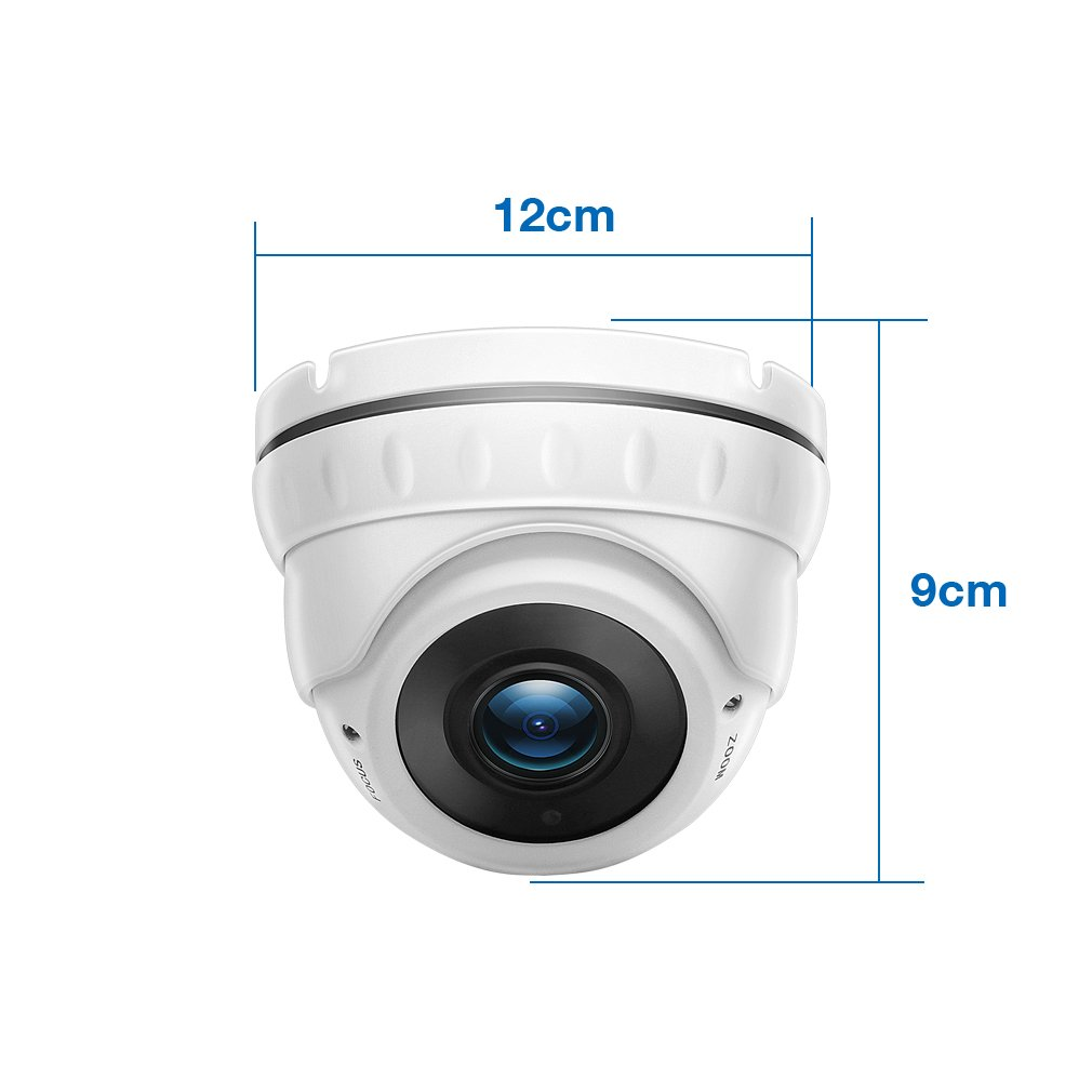 TMEZON 2.0MP HD-TVI Outdoor HD Dome Camera 2.8-12mm Zoom Lens 1080P Sony Sensor 36IR 99ft Night Vision ONLY Work with HD-TVI DVR by TMEZON (Image #3)
