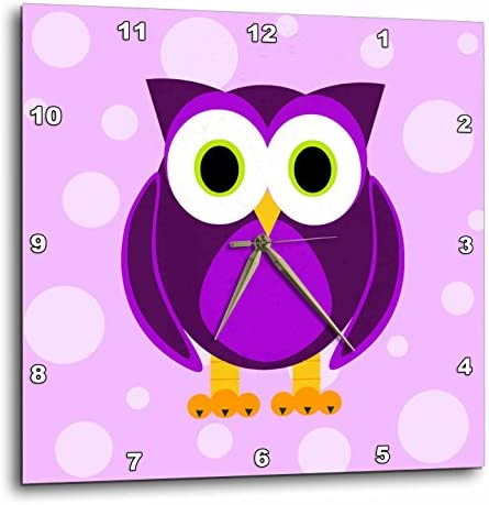 3dRose DPP_13757_3 Cute Purple Owl on Light Purple Background Wall Clock, 15 by 15-Inch