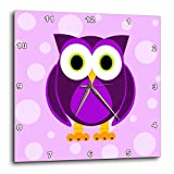 3dRose dpp_13757_3 Cute Purple Owl on Light Purple Background Wall Clock, 15 by 15-Inch For Sale