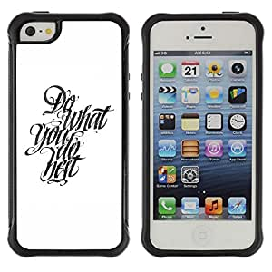 Hybrid Anti-Shock Defend Case for Apple iPhone 5 5S / Cool Calligraphy Message
