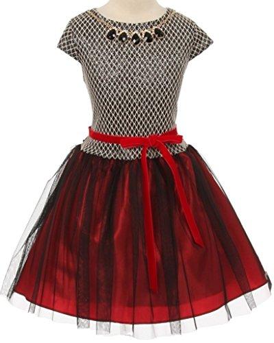 - Flower Girl Dress Two Tone Elegant Short Skirt for Big Girl Red 12 G35.53G