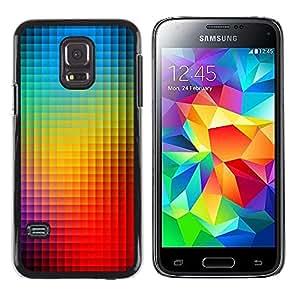LECELL--Funda protectora / Cubierta / Piel For Samsung Galaxy S5 Mini, SM-G800, NOT S5 REGULAR! -- Rainbow Pattern Vibrant Blue --