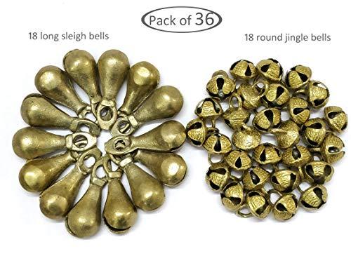 AzKrafts Pack of 36 Brass Bells, 18 Long Sleigh Bells + 18 Round Sleigh Bells, Unique Combo - Long Sleigh Bells & Jingle Bells for Home Door Decor, Crafts, Chimes, Christmas Decor, Pet Bells
