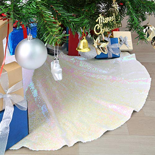 B-COOL Glittery Sequin Holiday Tree Skirt Handmade Custome 48inches Sequin Christmas Tree Skirt 48inch Round Sequin Fabric Luxurious Party Iridescent White (Christmas Trees Luxurious)