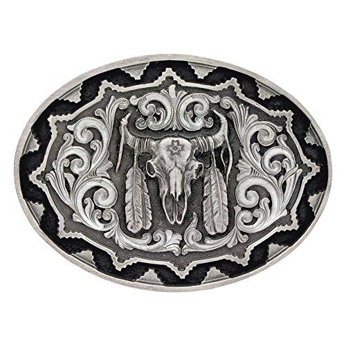 [Montana Silversmiths Men's Southwest Classic Impressions Buffalo Skull Silver One Size] (Buffalo Buckle)
