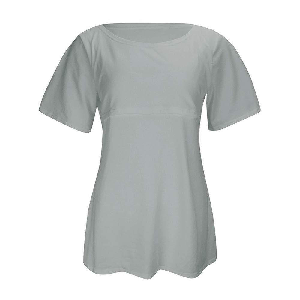 JiaMeng La Maternidad de enfermer/ía encabeza la Ropa de Manga Corta de Lactancia Materna Mujer Verano Manga Corta Camiseta b/ásica Blusa Tops de oto/ño de Primavera
