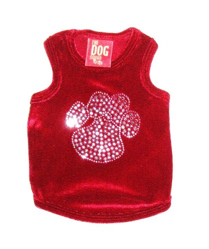 The Dog Squad Velvet Paw Tank Pet T-Shirt, XX-Small, Red]()