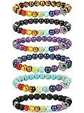 FIBO STEEL 6 Pcs Lava Stone Chakra Bracelets for Men Women Evil Eye Hamsa Aromatherapy Diffuser Bracelet¡