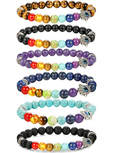 FIBO STEEL 6 Pcs Lava Stone Chakra Bracelets for Men Women Evil Eye Hamsa Aromatherapy Diffuser (Evil Eye Jewelry Meaning)