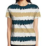 WuLion Navy Blue and Beige Paintbrush Strokes Design Lines Hand Drawn Style Artsy Women's 3D Print T Shirt M White