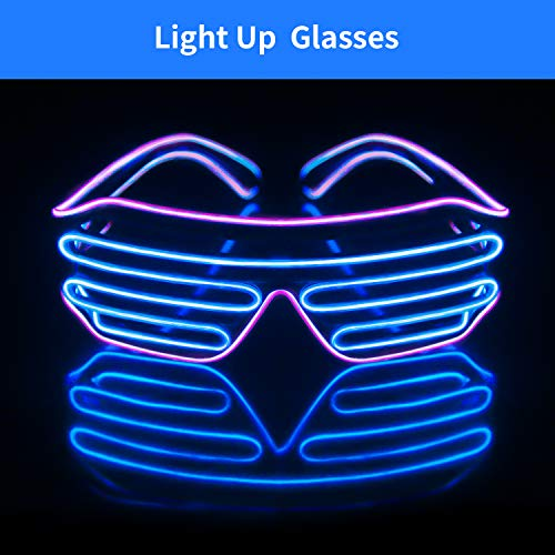 Light Up EL Wire Neon Shutter Glasses Flashing LED Rave Sunglasses for 80s, EDM, Parties Decorations(Purple+Blue)]()