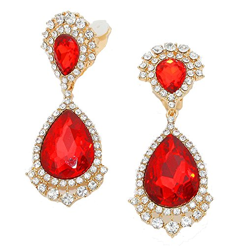 Vintage Style Red & Clear Rhinestone Chandelier Clip Earrings/Non Pierced Accented with Goldtones 2.75 in