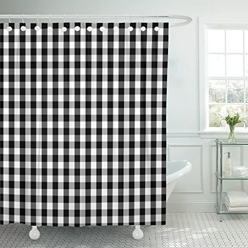 Gingham Shower Curtains - TOMPOP Shower Curtain Plaid Black and White Buffalo Gingham Pattern Slight Grain Waterproof Polyester Fabric 72 x 72 Inches Set with Hooks